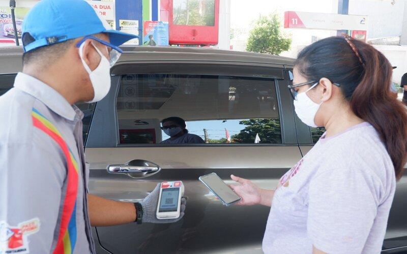 Cashless payment salah satu bentuk implementasi dari program digitalisasi SPBU Pertamina. - Istimewa