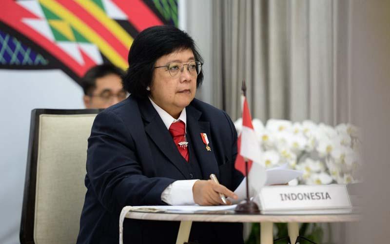 Menteri Lingkungan Hidup dan Kehutanan Siti Nurbaya dalam pertemuan virtual antarmenteri lingkungan hidup negara anggota G20, Rabu (16/9/2020). - Istimewa