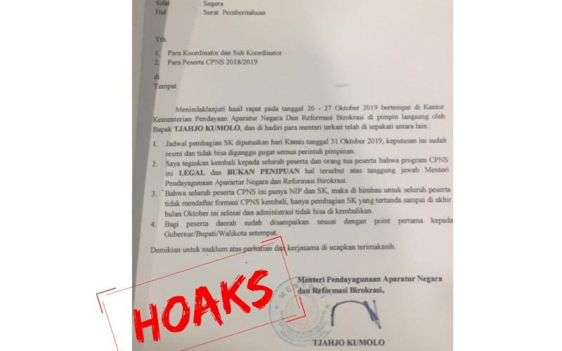 Foto dokumen palsu atau hoax yang seolah-olah ditandatangani oleh Menpan-RB. Dokumen ini berisi informasi terkait pengangkatan CPNS formasi 2019 - Dok./Kemenpan/RB