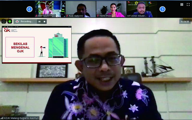 Kepala OJK Malang Sugiarto Kasmuri pada Webinar: Pengembangan SDM Perbankan Memasuki Era New Normal di Malang, Kamis (17/9 - 202).
