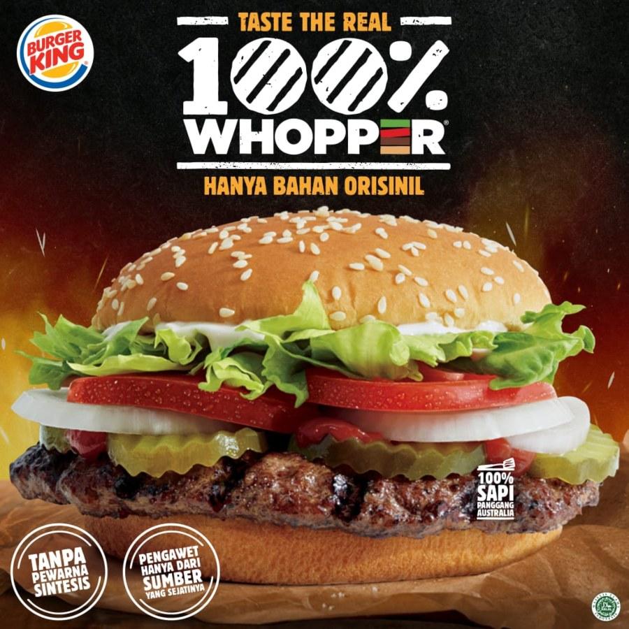Burger Whopper tanpa penguat rasa. - istimewa