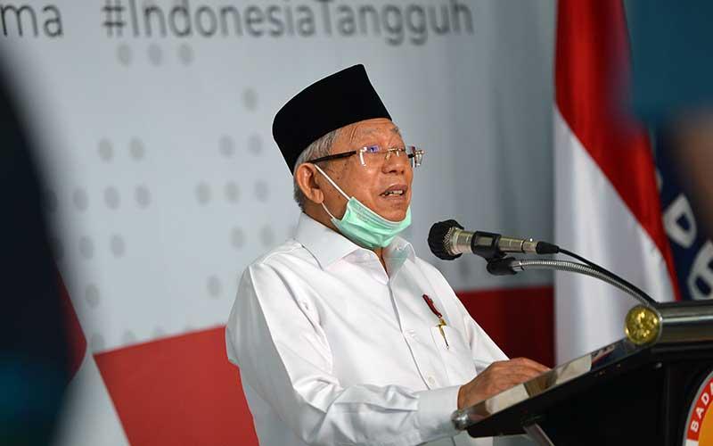 Wakil Presiden Ma'ruf Amin menyampaikan keterangan kepada wartawan tentang penanganan COVID-19 di Graha BNPB, Jakarta, Senin (23/3/2020). ANTARA FOTO - Aditya Pradana Putra