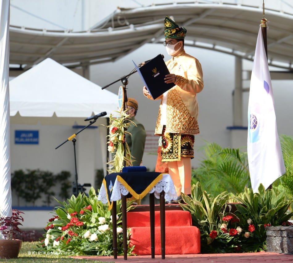 Menteri Perhubungan Budi Karya Sumadi saat memberikan keynote speech pada upacara Harhubnas 17 September 2020 yang disaksikan secara virtual oleh seluruh pegawai Kemenhub di seluruh Indonesia.