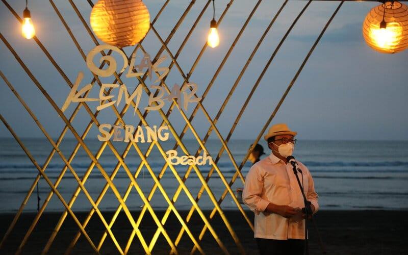 Bupati Blitar Rijanto dalam kegiatan peluncuran paket wisata Olas Kembar (Ojo Lungo Adoh Saurunge Kemput Blitar), Minggu (20/9/2020). - Istimewa
