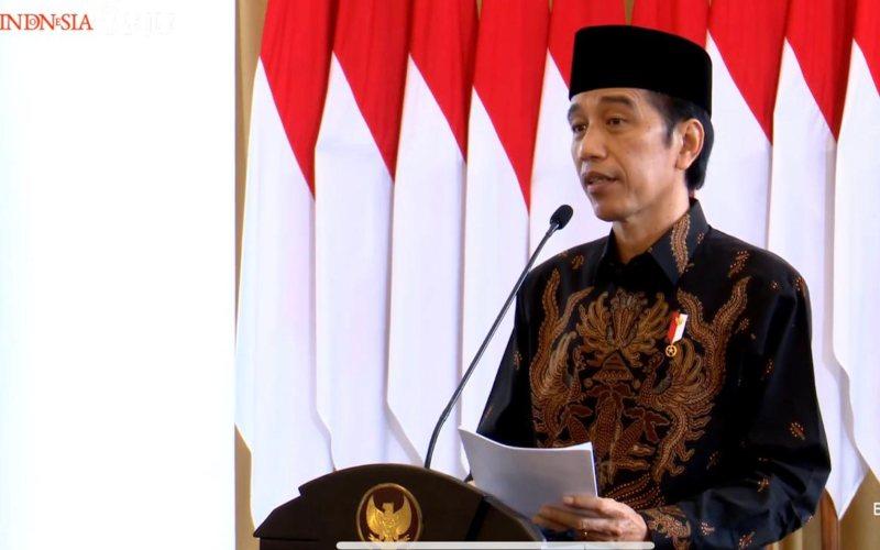 Presiden Joko Widodo menyampaikan sambutan dalam acara Peresmian Pembukaan Konferensi Besar XXIII Gerakan Pemuda Ansor Tahun 2020, Jumat, 18 September 2020 / Youtube Setpres