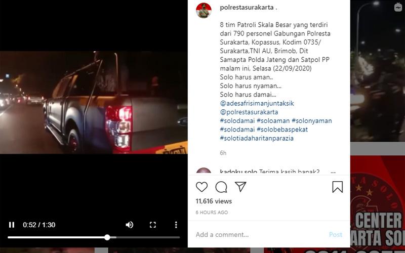 790 personel gabungan  Polresta, Kodim, TNI AU, Kopassus, Brimob diterjunkan untuk berpatroli di Kota Solo Selama malam (22 - 9) hingga Rabu dini haru 23 September 2020. Foto: Akun instagram Polresta Surakarta
