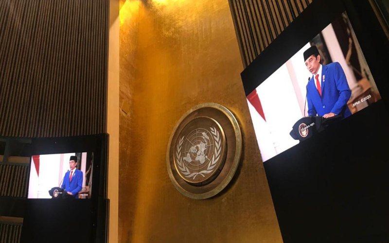 Presiden Joko Widodo tampil perdana menyampaikan pernyataan dalam Sidang Umum PBB ke-75 yang dilakukan secara virtual dan tatap muka, Rabu (23/9 - 2020) / Kementerian Luar Negeri