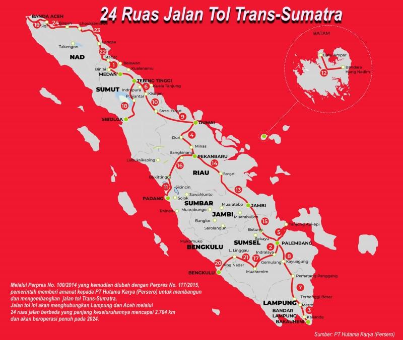 Sebanyak 24 ruas jalan tol Trans-Sumatra akan dibangun oleh PT Hutama Karya yang dseluruhnya ditargetkan rampung pada 2024. - Sumber/PT Hutama Karya
