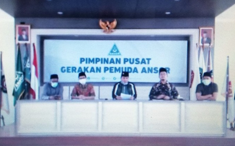 Konferensi pers GP Ansor terkait permintaan maaf dari Ustaz Alfian Tanjung kepada Ansor, Banser, dan keluarga besar Nahdlatul Ulama yang disiarkan langsung secara daring, Rabu (23-9-2020)/Antara - HO/tangkapan layar Zoom