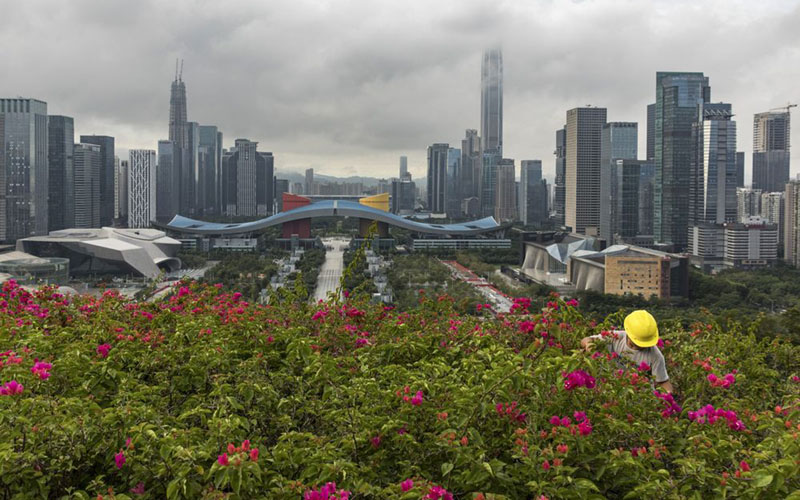 Properti di Shenzhen, China, terlihat di latar belakang Taman Linhua./Bloomberg - Qilai Shen