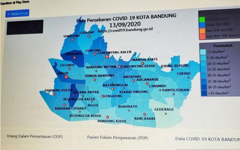 Peta persebaran Covid-19 dalam laman Pusat Informasi Covid-19 Kota Bandung. - Antara