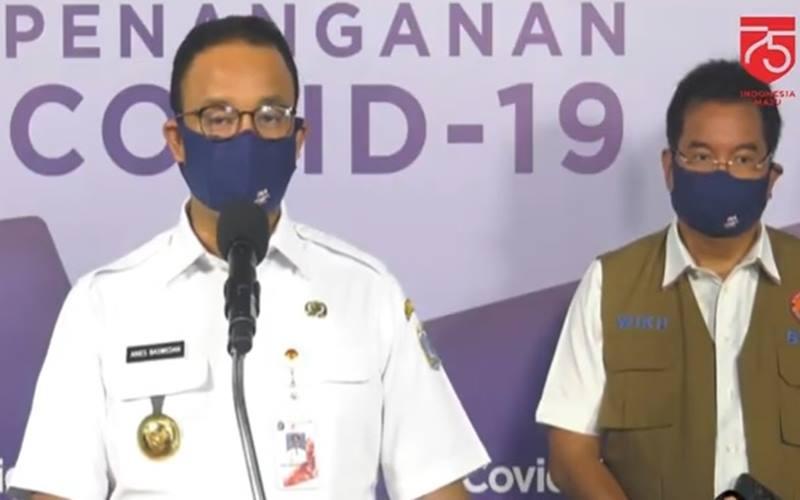 Gubernur DKI Jakarta Anies Baswedan membahasa rencana pembukaan bioskop di Jakarta, Rabu (26/8/2020), di Graha BNPB. JIBI - Bisnis/Nancy Junita