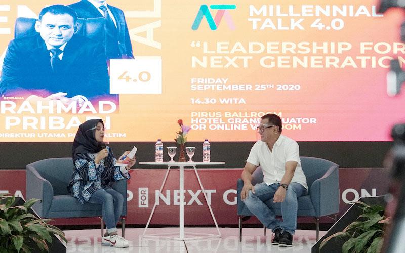 Direktur Utama Pupuk Kaltim Rahmad Pribadi (kanan) saat menjadi narasumber dalam Millennial Talk 4.0 yang digelar di Hotel Grand Equator, Jumat (25/9/2020). - JIBI/Istimewa