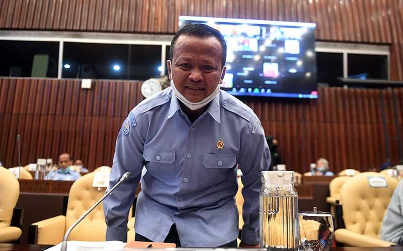 Menteri Kelautan dan Perikanan Edhy Prabowo saat bersiap mengikuti rapat kerja dengan Komisi IV DPR di Kompleks Parlemen, Senayan, Jakarta, Senin (6/7/2020). - Antara/Akbar Nugroho Gumay