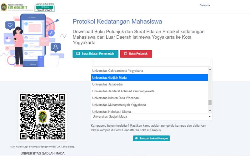 Registrasi mahasiswa pendatang yang berencana indekos di Kota Jogja dari laman kuliahlagi.jogjakota.go.id