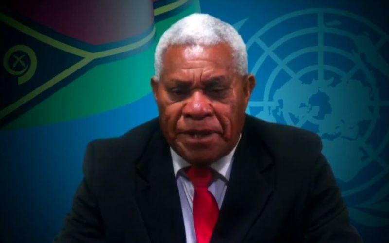 Tangkapan layar dari video Perdana Menteri Republik Vanuatu Bob Loughman saat berbicara di forum PBB. - Bisnis/Ropesta Sitorus