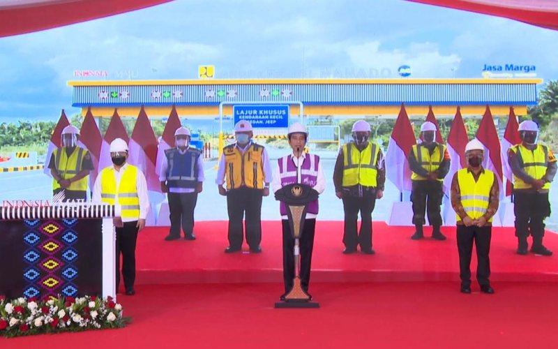 Presiden Joko Widodo meresmikan ruas tol Manado - Danowudu di Sulawesi Utara secara virtual dari Istana Kepresidenan Bogor, Jawa Barat, Selasa (29/9 - 2020)  - Youtube Setpres