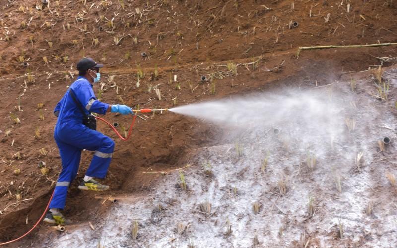 Sempat ujicoba tahun lalu di wilayah Pangalengan, teknologi polimerisasi kembali digunakan di daerah tebing yang rawan longsor.