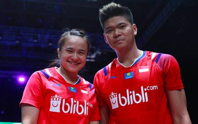 Pasangan gand campuran Indonesia Praveen Jordan (kanan) dan Melati Daeva ketika juara All England pada Maret 2020. - Badminton Indonesia