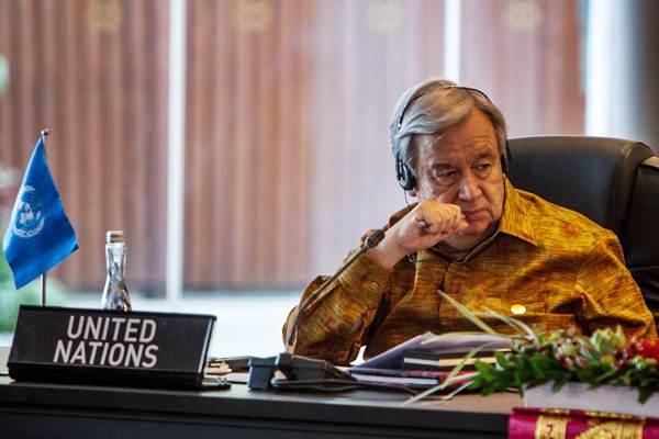 Sekretaris Jenderal Persatuan Bangsa-Bangsa Antonio Guterres mengikuti pertemuan Asean Leaders Gathering di Hotel Sofitel, Nusa Dua, Bali, Kamis (11/10/2018). - ANTARA/Afriadi Hikmal