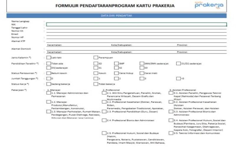 Formulir Pendaftaran Kartu Prakerja Secara Offline/Bisnis-Permenaker 17 - 2020