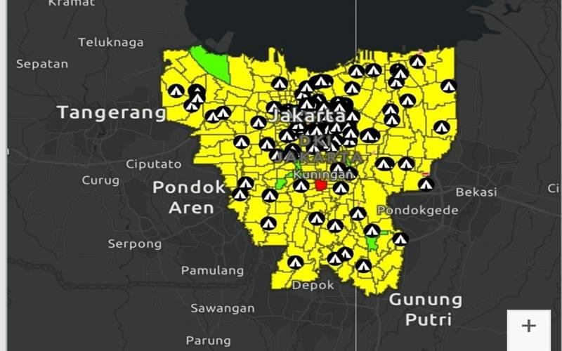Peta sebaran Covid-19 DKI Jakarta berwarna kuning, Selasa (8/9/2020) dipantau di aplikasi JAKI./JIBI - Bisnis/Mutiara Nabila