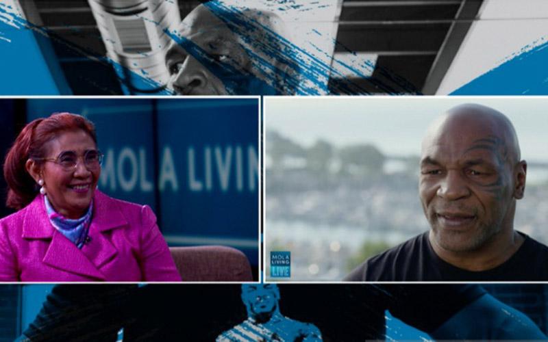 Mike Tyson alias Malik Abdul Aziz ketika diwawancarai Susi Pudjiastuti./Antara - Mola TV