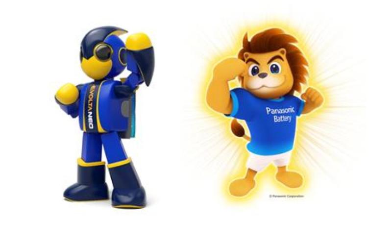 Evolta Neo, maskot Panasonic di pasar Jepang, dan Panasonic Leo, maskot di luar pasar Jepang.  - Panasonic