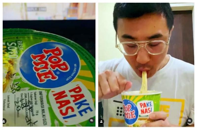 Axton Salim memakan Pop Mie Pake Nasi. - Instagram