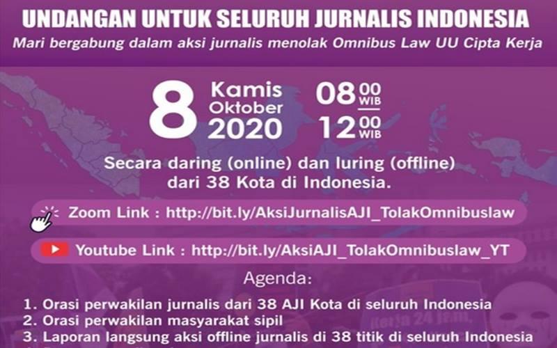 AJI menggelar demo tolak Omnibus Law UU Cipta Kerja secara online dan offline, Kamis (8/10/2020). - Twitter@AJIIndonesia