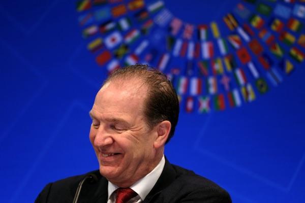 Presiden Bank Dunia David Malpass berbicara dalam sebuah konferensi pers dalam Spring Meetings of the World Bank Group and IMF di Washington, AS, Kamis (11/4/2019). - Reuters/James Lawler Duggan
