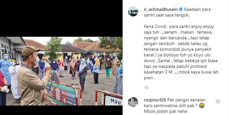 Bupati Banyumas Achmad Husein berdialog dengan para santri di karantina Covid/19. Foto: Instagram ir_achmadhusein