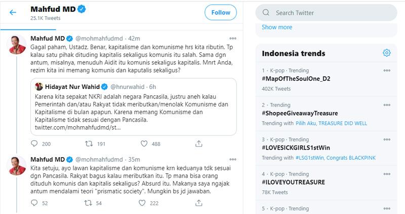 Twitter Mahfud MD menjawab Hidayat Nur Wahid