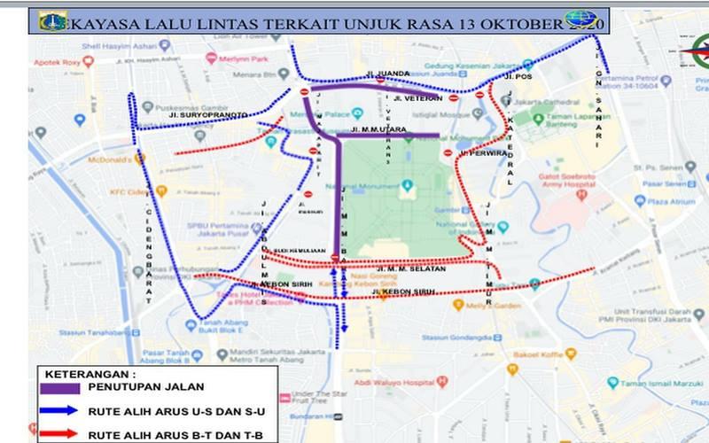 Dokumen pengalihan arus lalu lintas di sekitaran Monumen Nasional (Monas) Jakarta Pusat terkait adanya demonstrasi di Istana Kepresidenan Jakarta, Selasa (13/10/2020). - Istimewa