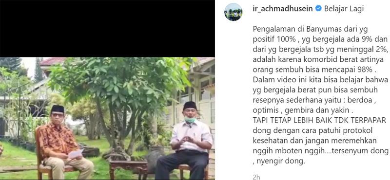 Anggota DPRD Banyumas Imam Sentosa berbagi rahasia sembuh dari Covid/19 yang membuat kondisinya sempat kritis