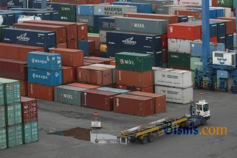 Ilustrasi tumpukan kontainer. - bisnis