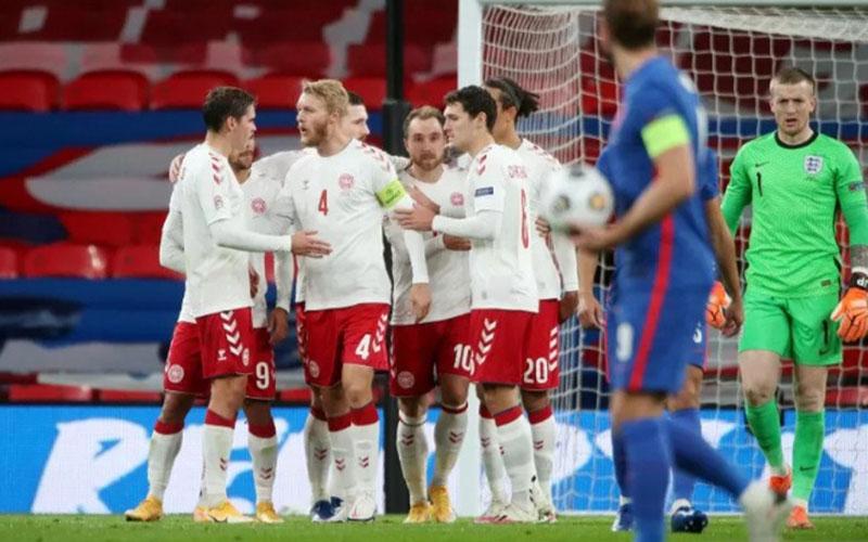 Para pemain Denmark merayakan gol ke gawang Inggris./Antara - Reuters