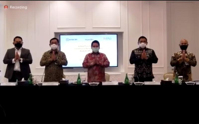 Press Conference Proses Merger Bank BUMN Syariah, Selasa (13/10/2020) - Istimewa