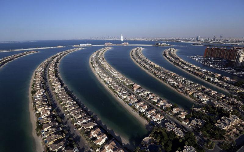 Hunian mewah di Palm Jumeirah, pulau buatan di Dubai, Uni Emirat Arab./Bloomberg - Chris Ratcliffe