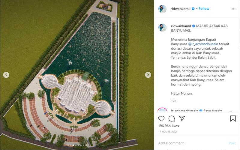 Masjid Seribu Bulan Sabit rancangan Gubernur Jawa Barat Ridwan Kamil rencananya akan menjadi Masjid Agung Purwokerto di Kabupaten Banyumas Jawa Tengah. Foto: Instagram ridwankamil