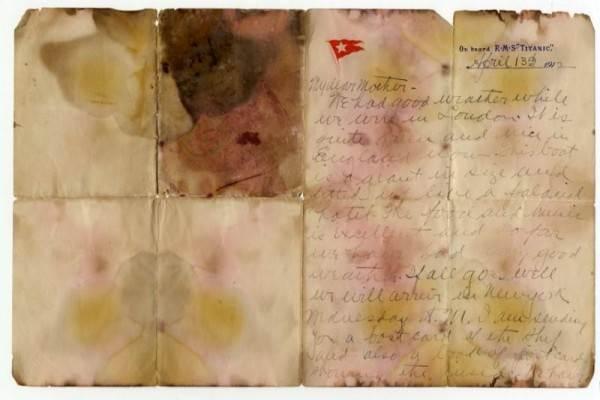 Sebuah surat yang ditulis pada 13 April 1912 dan ditemukan dari tubuh Alexander Oskar Holverson, seorang korban Titanic, di London, Inggris pada tanggal 20 Oktober 2017.  - Reuters