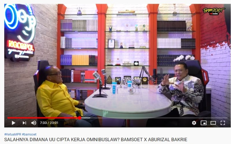 Tangkapan Layar Abu Rizal Bakrie menjadi tamu di podcast Channel Youtube Ketua MPR RI Bambang Soesatyo.  -  Istimewa / Channel Youtube Bamsoet