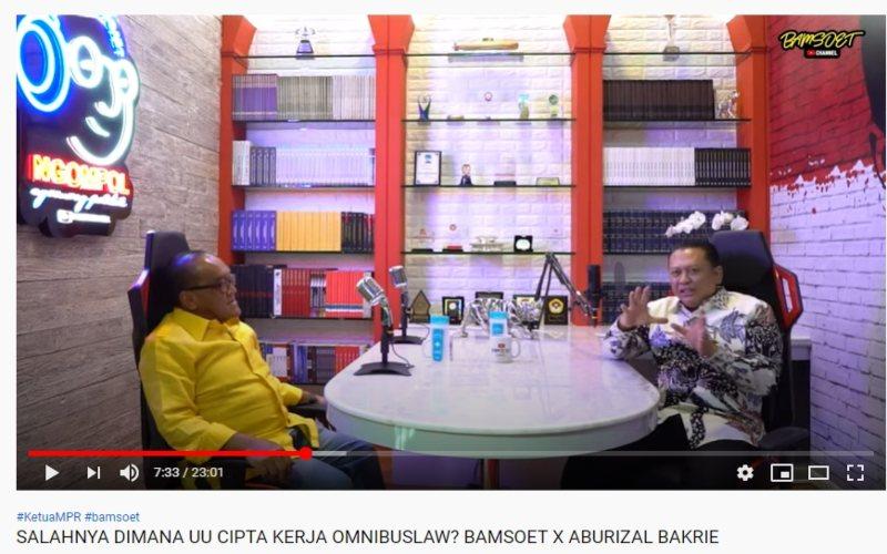 Tangkapan Layar Abu Rizal Bakrie menjadi tamu di podcast Channel Youtube Ketua MPR RI Bambang Soesatyo. / Istimewa / Channel Youtube Bamsoet