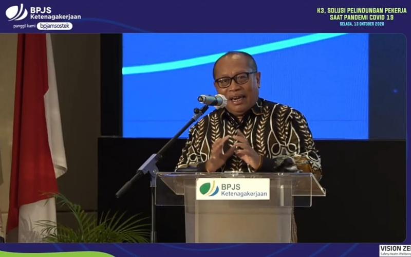 Direktur Utama Badan Penyelenggara Jaminan Sosial (BPJS) Ketenagakerjaan Agus Susanto dalam webinar K3 di Masa Pandemi Covid-19, Selasa (13/10 - 2020)