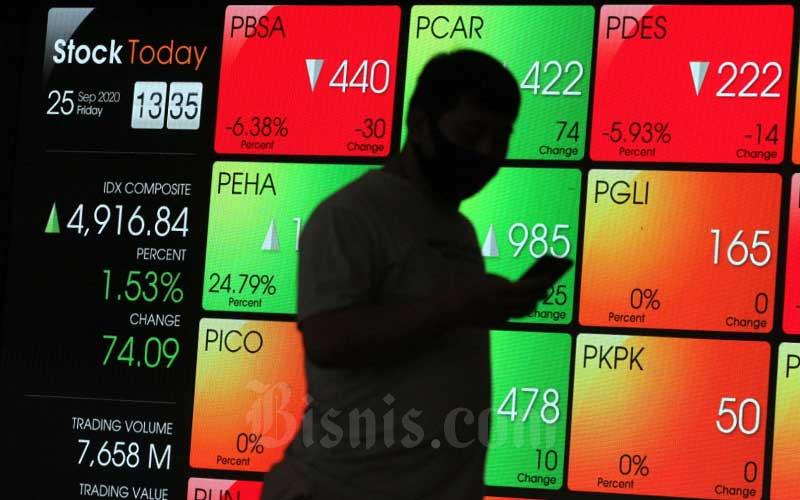 Pengunjung berjalan di dekat papan elektronik yang menampilkan perdagangan harga saham di kantor PT Bursa Efek Indonesia (BEI)  di Jakarta, Jumat (25/9/2020). Bisnis - Dedi Gunawan