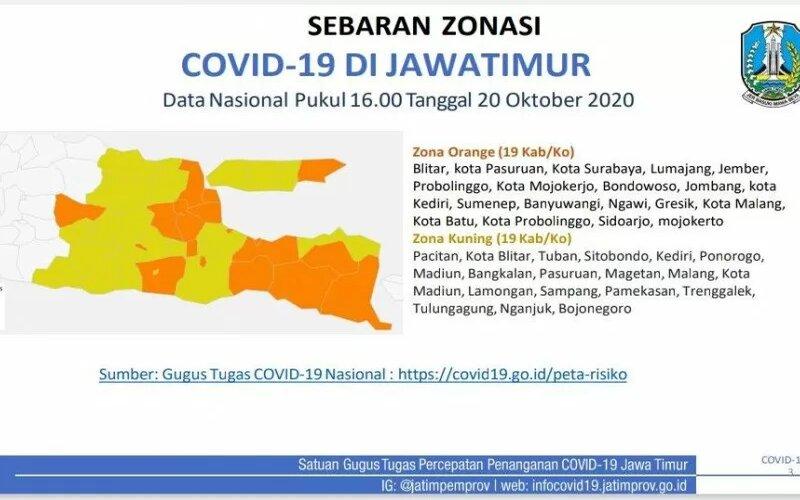 Peta zonasi risiko Covid/19.