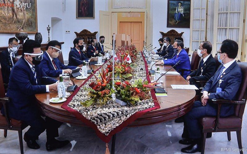 Pertemuan Bilateral Presiden Joko Widodo dan PM Jepang Yoshihide Suga beserta Delegasi di Istana Kepresidenan Bogor, Jabar, Selasa (20/10/2020) sore.  - Setkab