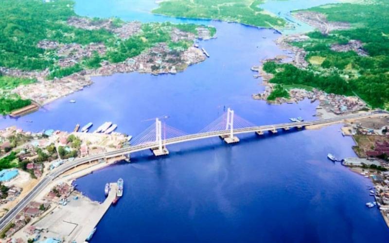 Foto aerial Jembatan Teluk Kendari. - Istimewa/Kementerian PUPR