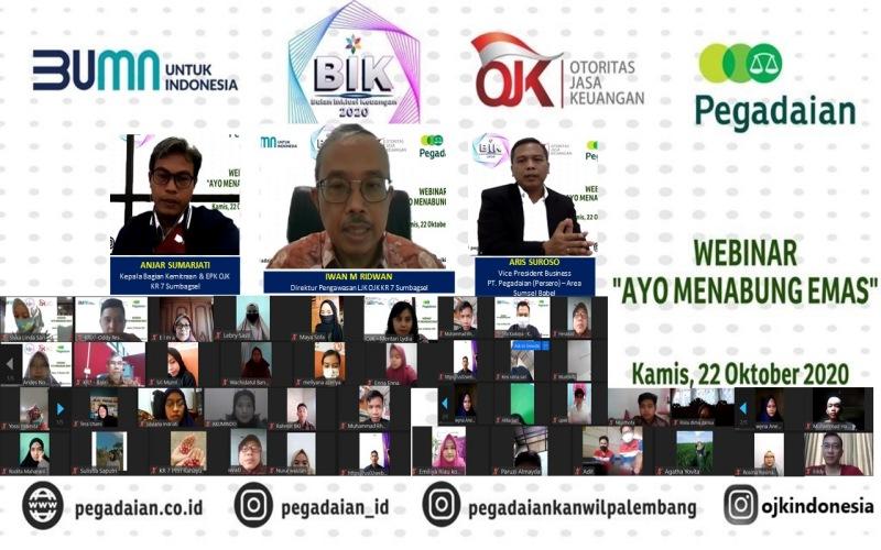 Webinar OJK Regional 7 Sumatra Bagian Selatan dengan tema Ayo Menabung Emas. istimewa
