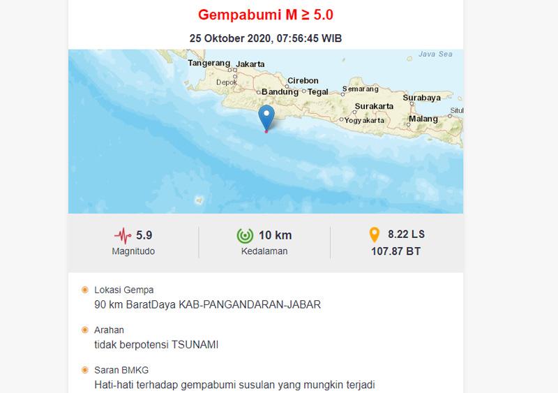 Gempa 5,9 SR terjadi di 90 kilometer sebelah barat daya Kabuapten Pangandaran Jawa Barat. Foto: bmkg.go.id